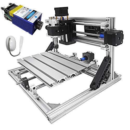 Mophorn Cnc Machine 2418 Grbl Control Cnc Router Kit 3 Axis Pcb Laser Engraver 240X180X40Mm With 500mW Blue Light Laser Module And Table Lamp