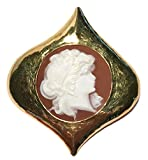 Cameo Brooch Eternal Love Sardonyx Shell Master Carved, Italian 18k Yellow Gold