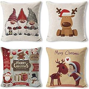 Gudotra 4pcs Housse Coussin Noël Taie d'oreiller Coussin en Lin de Coton Noël pour Canapé Décoratif 45x45cm