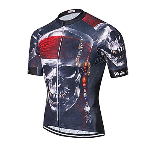 - Weimostar Men's Cycling Jersey Short Sleeve Mountain Bike Shirt MTB Top Zipper Pockets Reflective Pirate Skull Size L