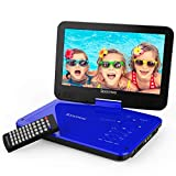 Spacekey Portable DVD Player 10' with 5 Hours Rechargeable Battery, Swivel Screen, Support USB/SD Slot and 1.8M Car Charger, Support Memory and Region Free (Blue)