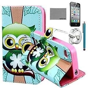 YULIN Carcasas de Cuerpo Completo - Gráfico/Dibujos Animados/Diseño Especial/Innovador/Manga - para iPhone 4/4S/iPhone 4 Cuero PU/TPU )