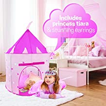 WeePlay 4 Piece Castle Play Princess Tent   BONUS! Includes Princess Tiara and Earrings   Conveniently folds into FREE Carrying Case   Indoor & Outdoor Use   Glow in the Dark Stars