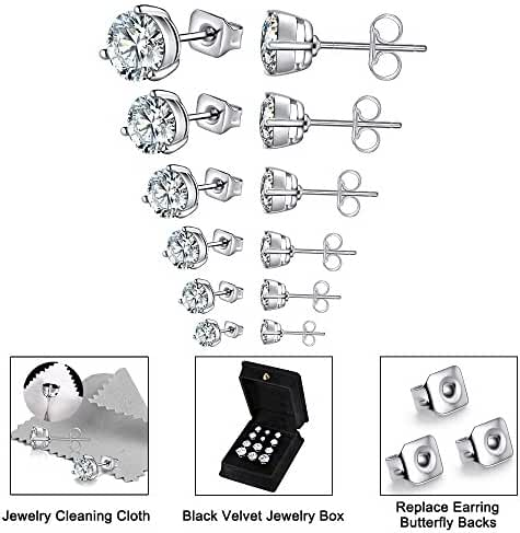 Anni Coco 18K White Gold Plated Stainless Steel Brilliant Cut Round CZ Stud Earrings, 4-9mm 6 Pairs