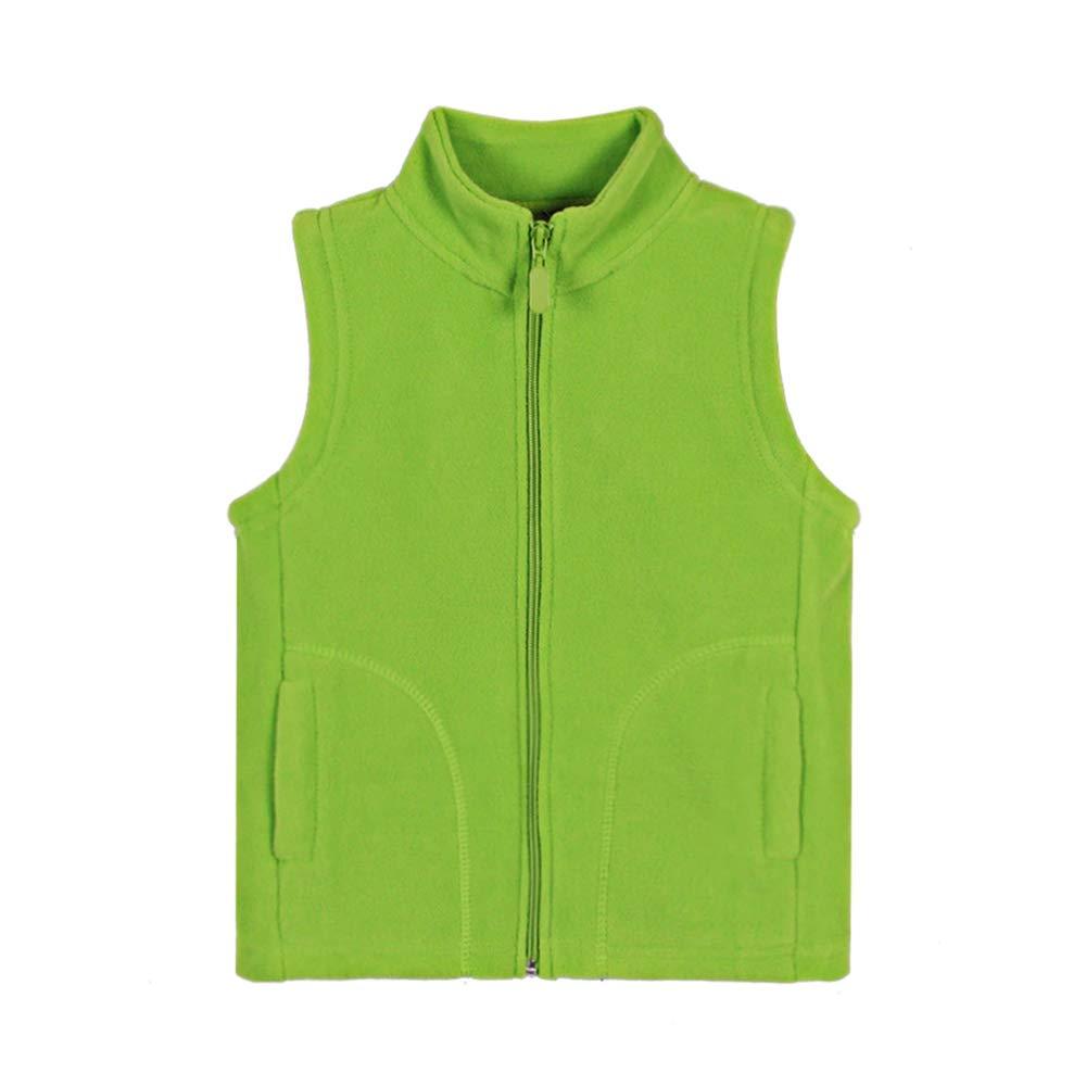 OCHENTA Boys' Soft Warm Zipper Polar Fleece Vest Lemon Green Tag 110-4T