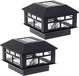 GreenLighting 6 Pack Modern Design Solar Powered Post Cap Light for 4x4 Wood Posts (White)