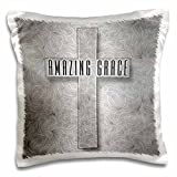 3dRose Amazing Grace Silver Christian Cross with Swirls Elegant and Simple Pillow Case, 16 x 16''