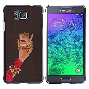 Be Good Phone Accessory // Dura Cáscara cubierta Protectora Caso Carcasa Funda de Protección para Samsung GALAXY ALPHA G850 // Michael Mirror Woman Red Nails Hand