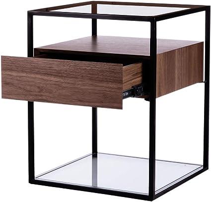 Tavolino da caff/è in Metallo e Legno 35 x 60 x 60 cm Comodino con Scomparto Aperto Camera da Letto Tavolino Divano per Soggiorno Mobile in Stile Industriale Multifunzionale