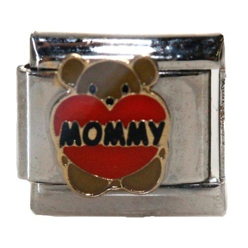 Italian Mom (Teddy Bear Mommy with Heart Italian Link Bracelet Charm)