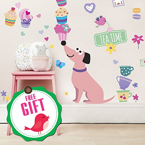 Dog Wall Decals for Girls - Cupcake Cute Pink Decor Stickers for Kids [>45 Art Baby Bedroom clings] (Dog Themed Bedrooms)