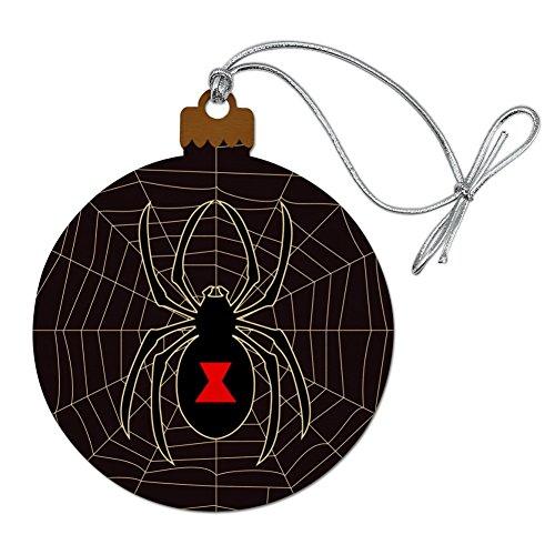 (Black Widow Spider on Web Wood Christmas Tree Holiday Ornament)