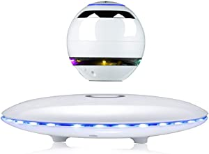 Infinity Orb Magnetic Levitating Speaker Bluetooth 4.0 LED Flash Wireless Floating Speakers with Microphone and Touch Buttons (White)
