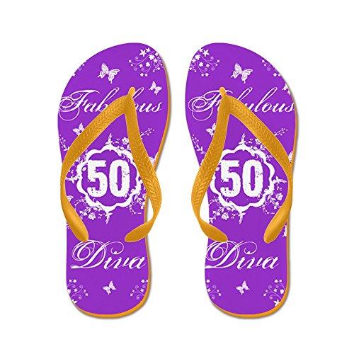 CafePress 50Th Birthday Fabulous - Flip Flops, Funny Thong Sandals, Beach Sandals Orange