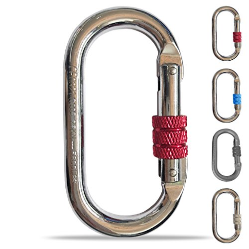 (O-Shaped Steel Climbing Carabiner(25kn=5600lb)Screw Lock Spring Gate Protection,CE Rated Heavy Duty Carabiners For Rock Climbing Rappelling Hiking Hanging Ropes Camping Slack Lines Rigging & Anchoring )
