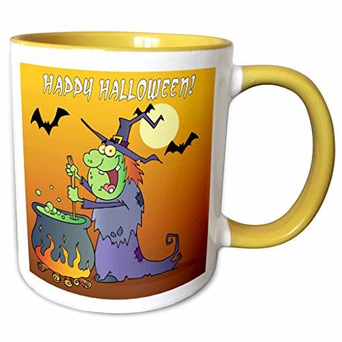 3dRose Dooni Designs Halloween Designs - Ugly Green Halloween Witch Preparing Potion In Cauldon Funny Silly Halloween Cartoon Design - 15oz Two-Tone Yellow Mug (mug_153719_13) ()
