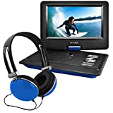 Ematic Portable DVD Player with 10-inch LCD Swivel Screen, Headphones and Car Headrest Mount, Blue