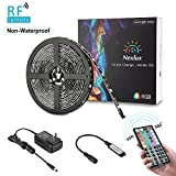 LED Strip Lights, Nexlux 16.4ft Non-Waterproof SMD RGB LED Flexible Strip Light Black PCB Board Color Changing Decoration Lighting 44 key RF Remote Controller+ UL approved Power Adapter