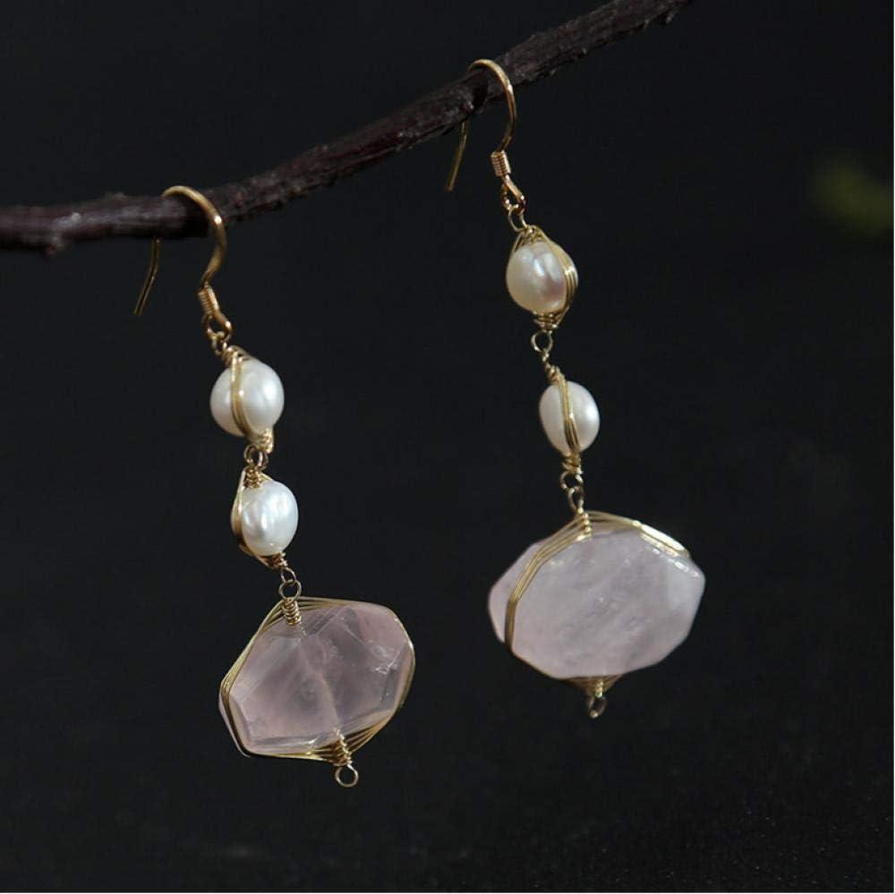 onedayday Pendientes de Cristal de Perlas Hechas a Mano de Piedras semipreciosas Accesorios