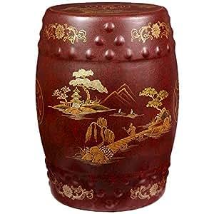 Oriental Furniture Red - Glazed Garden Stool