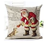"Lyn Cotton Linen Square Throw Pillow Case Decorative Cushion Cover Pillowcase for Sofa 18 ""X 18 "" Christmas pillow (2)"