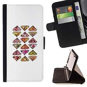 Momo Phone Case / Flip Funda de Cuero Case Cover - Arte Mano Patrón Bling Dibujado - Huawei Ascend P8 Lite (Not for Normal P8)