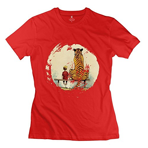 New Arrival Calvin And Hobbes Thomas Tiger Bench Women's Tee Red Size M