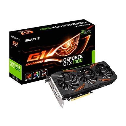 Gigabyte VGA Gigabyte Nvidia G-Force GTX 1080 G1 - Tarjeta Grafica (8GB, GDDR5 PCI-E 3.0, DVI-D, HDMI, DP), Color Negro