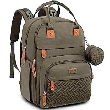 Diaper Bag Backpack, BabbleRoo Baby Nappy Changing Bags Multifunction Waterproof Travel Back Pack with Changing Pad & Stroller Straps & Pacifier Case, Unisex and Stylish (Army Green)…
