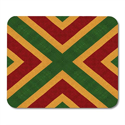 Mouse Pads Reggae Colors Flag Crochet Knitted Top View Collage Mirror Reflection Kaleidoscope Montage for Plaid Mouse pad Mats 9.8
