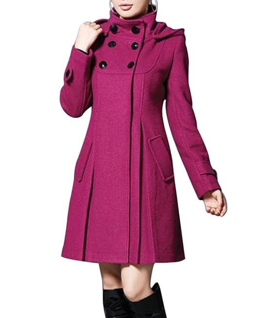 Mujer Chaqueta Larga de Elegante Abrigo Trench Doble Botones Jacket Coat Outwear con Capucha Púrpura M: Amazon.es: Ropa y accesorios