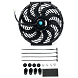 8milelake 12V 80W High Performance Black Slim Electric Cooling Radiator Fan with Fan