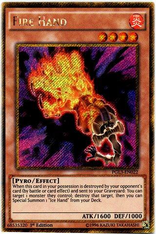 Yu-Gi-Oh! - Fire Hand (PGL3-EN022) - Premium Gold: Infinite Gold - 1st Edition - Gold Secret Rare