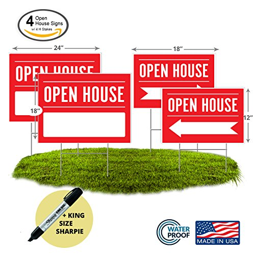 Open House Signs 4 Pack   Two 24X18  Signs And Two 18X12  Arrow Signs   Includes Premium H Stakes And Sharpie King Marker  4  Two 24X18    Two 18X12