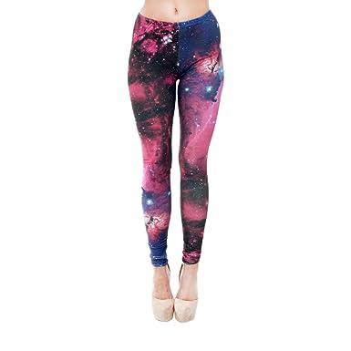 1f1cf64745566e Hanessa Frauen Leggins Bedruckte Leggings Hose Frühling Sommer Kleidung  Galaxie Rot Blau L71