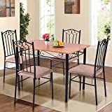Tangkula 5 PCS Dining Set Modern Wood Metal Dinette Kitchen Breakfast Furniture Table and Chairs Set w/ 4 Chairs