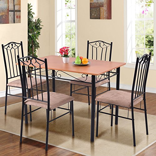Tangkula Dining Table Set 5 Piece Home Kitchen Dining Room Tempered Glass Top Table and Chairs Breaksfast Furniture (Black (Glass Upholstered Dining Table Set)