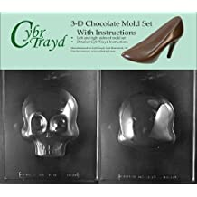 Cybrtrayd H166AB Chocolate Candy Mold, Includes 3D Chocolate Molds Instructions and 2-Mold Kit, Large 3D Skull