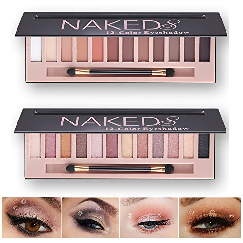 Makeup Naked Eyeshadow Palette 12 Color Natural Nude Matte Shimmer Glitter Pigment Eye Shadow Pallete Set Waterproof Smokey Professional Cosmetic Beauty Kit BESTLAND (2 PCS)