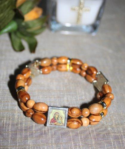 FavorOnline Amazin Double Wood Jerusalem Rosary Bracelets wth Religious Icons ()