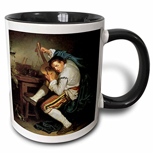 3dRose BLN Music Featured in Fine Art Collection - The Guitarist, c. 1760 by Jean Baptiste Greuze Man Playing a Guitar - 15oz Two-Tone Black Mug (mug_172078_9)