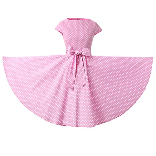 YW Cap Sleeves Polka Dot Floral 50s Style Vintage Retro Rockabilly Swing Dress Full Skirt (XX-Large, Pink White Mini Polka -