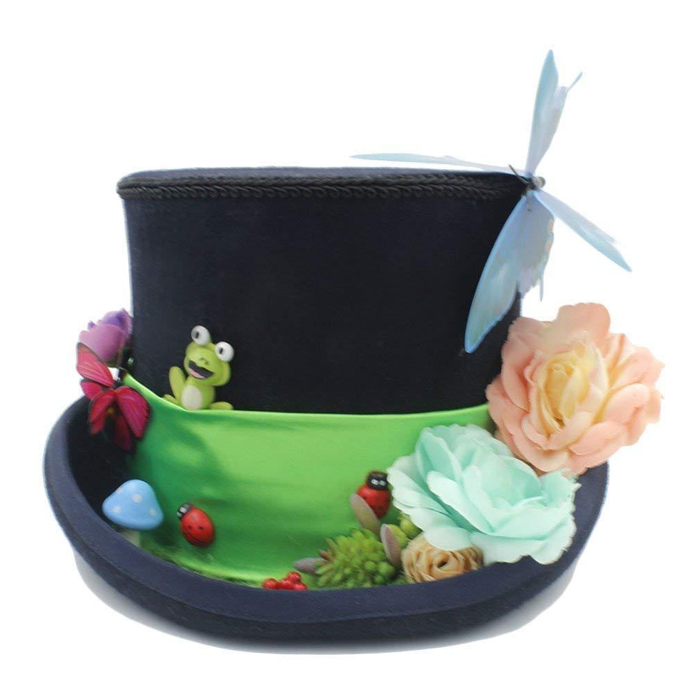 Achun Mütze Home Männer und Frauen Hut - DIY Steampunk Zylinder mit Wald Blumen Party Hut für Frauen Tea Party Hut