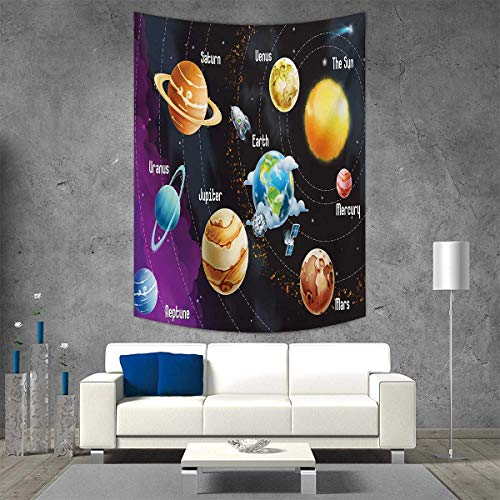 smallbeefly Outer Space Tapestry Table Cover Bedspread Beach Towel Solar System of Planets Milky Way Neptune Venus Mercury Sphere Illustration Dorm Decor Beach Blanket 40W x 60L INCH Multicolor by smallbeefly