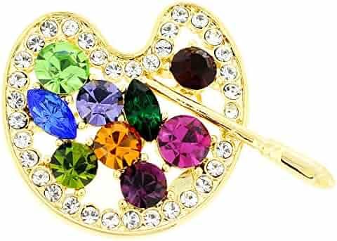 11fed315c4a Fantasyard Golden Multicolor Painters Palette Crystal Brooch and Pendant