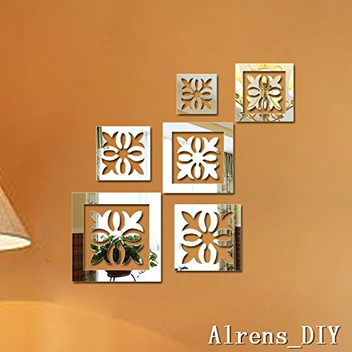 Alrens_DIY(TM)6 Pcs Flowers Frames DIY Mirror Effect Reflective 3D Wall Stickers Home Decoration Living Room Bedroom Bathroom Decor Mural Decal adesivo de parede Removable Design Art