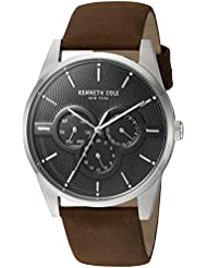 Kenneth Cole New York Mens Quartz Stainless Steel and Leather Casual Watch, Color:Brown (Model: KC15205001)