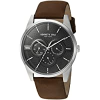 Kenneth Cole New York Men's Quartz Stainless Steel and Leather Casual Watch, Color:Brown (Model: KC15205001)