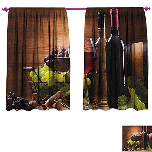 homefeel Wine Waterproof Window Curtain Glasses of Red and White Wine Served with Grapes French Gourmet Tasting Patterned Drape for Glass Door W55 x L39 Brown Ruby Pale Green