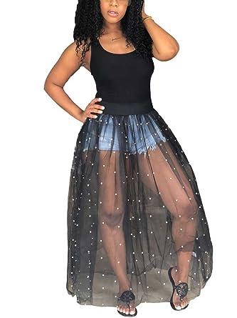 6b61e85f833 Allumk Women s Sexy Sleeveless Mesh See Through Beading Fit Flare Clubwear  Dress Black S